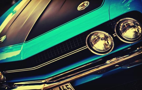 Картинка машина, авто, фары, перед, Challenger, автомобиль, vintage, blue, винтаж, front, blue cars, outdoors, headlights, американские …