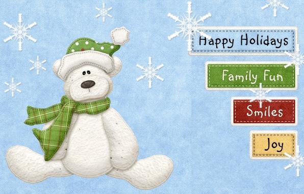 Картинка снежинки, улыбка, надписи, праздник, семья, мишка, веселье
