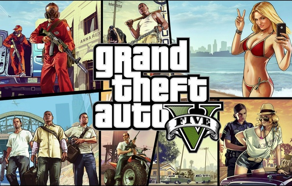 Картинка море, девушка, оружие, арт, GTA, Grand Theft Auto V, GTA 5, Rockstar North, Rockstar Games