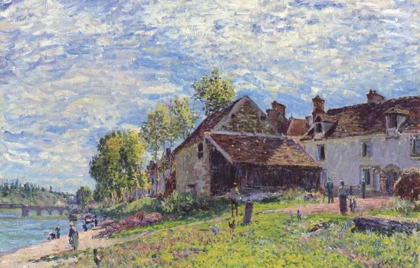 Картинка небо, облака, пейзаж, мост, река, люди, дома, картина, Alfred Sisley