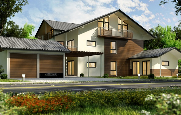 Фото обои дорога, деревья, дизайн, дом, особняк, 3D