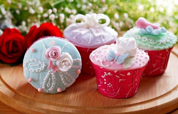 Картинка еда, розы, букет, торт, rose, cake, крем, десерт, food, flowers, сладкое, sweet, cupcake, кексы, cream, …