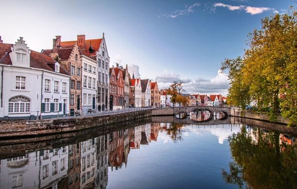 Картинка осень, вода, деревья, мост, город, дома, Бельгия, Belgium, Брюгге, Brugge