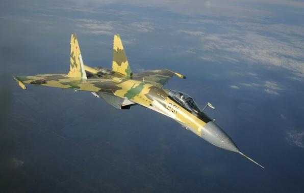 Картинка авиация, обои, истребитель, самолёт, ВВС, поколения, реактивный, России, ОКБ, Су-35С, российский, многоцелевой, сверхманевренный, 4++, Сухого