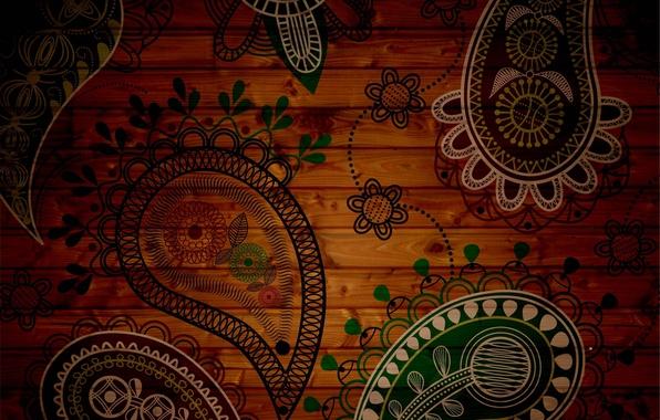 Картинка цветы, зеленый, фон, узоры, текстура, лепестки, коричневый