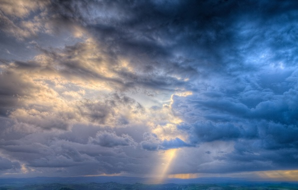 Картинка облака, лучи, свет, земля, Небо