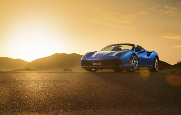 Картинка Ferrari, Blue, Front, Sunset, Spider, Supercar, 488