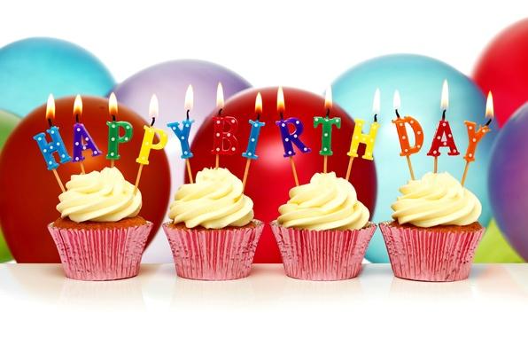 Картинка шары, свечи, Happy Birthday, cupcake, кексы, День Рождения