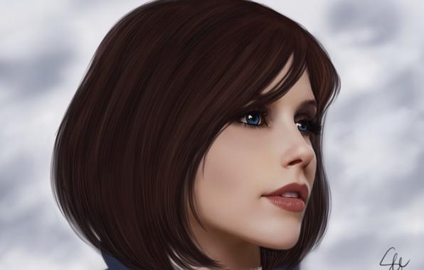 Картинка небо, взгляд, девушка, облака, лицо, фон, волосы, игра, BioShock Infinite, Элизабет