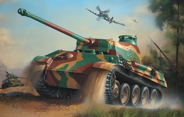 Картинка war, art, army, painting, drawing, ww2, hawker tempest, geman panzer, sherman tank, panther tank