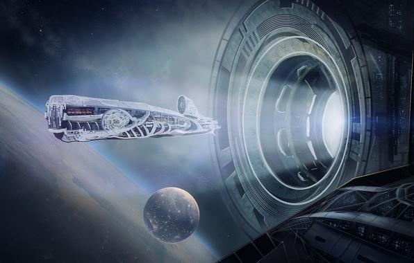 Картинка космос, корабль, планета, станция, орбита, spaceship, space station