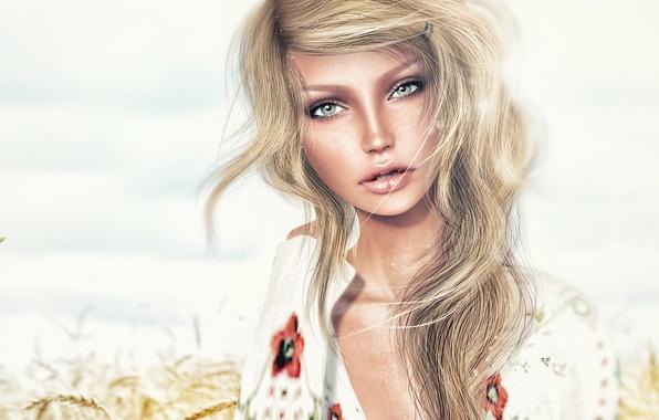 Картинка blue eyes, model, look, blonde