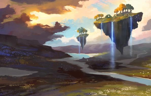 Картинка деревья, река, арт, водопады, нарисованный пейзаж, летающие островки