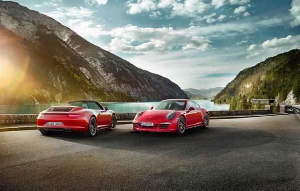 Картинка 911, Porsche, Red, Car, Clouds, Sky, Sun, Carrera, Sports, GTS, 2015