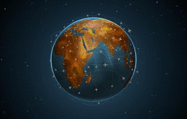Картинка планета, самолеты, перелеты
