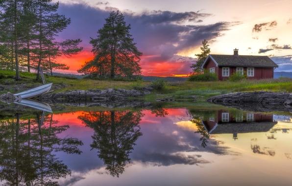 Картинка деревья, закат, озеро, дом, отражение, лодка, Норвегия, Norway, Рингерике, Ringerike