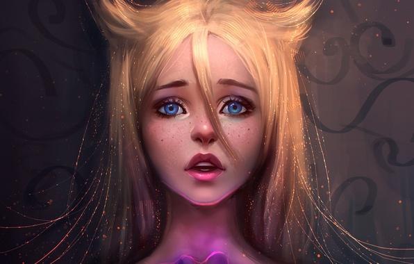 Картинка глаза, взгляд, девушка, лицо, аниме, арт, блондинка, губы