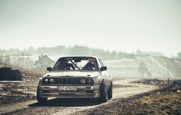 Картинка BMW, Drift, Car, Front, Sun, E30, Road, Silver, Ligth