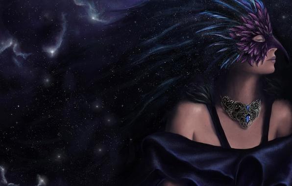 Картинка девушка, звезды, фантастика, перья, маска, арт, art, закрытые глаза, космос. профиль