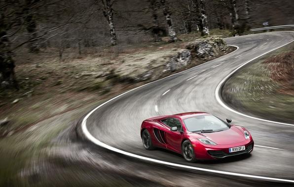 Картинка дорога, скорость, размытие, поворот, спорткар, McLaren MP4-12C