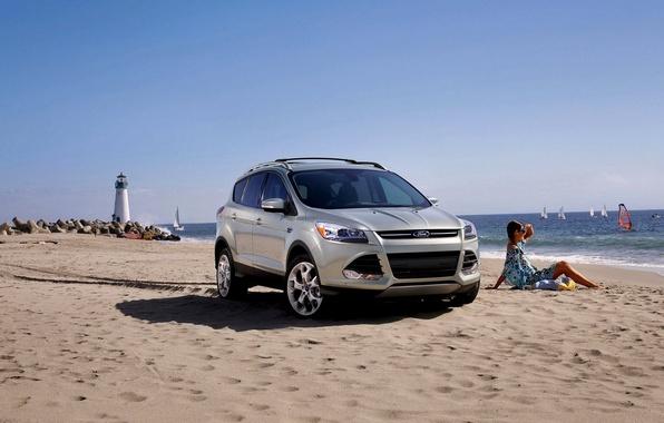 Картинка Ford, Песок, Море, Пляж, Девушка, Маяк, Машина, Лето, Форд, Автомобиль, Sun, Summer, Парус, Sea, 2014, …