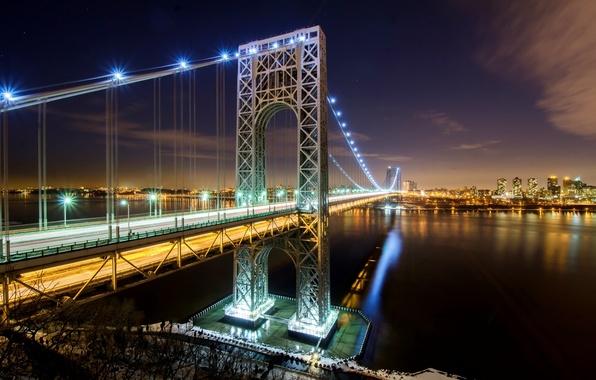 Картинка дорога, свет, ночь, город, огни, река, Нью-Йорк, USA, США, Манхэттен, Manhattan, NYC, New York City, …