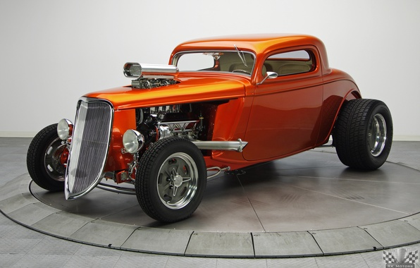 Картинка Ford, Hot Rod, Coupe, Классическое авто, TH350, Tan, 1933, Kandy Orange Glow, 468 V8, 3 …