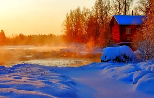 Картинка зима, небо, снег, деревья, закат, дом, река, пар