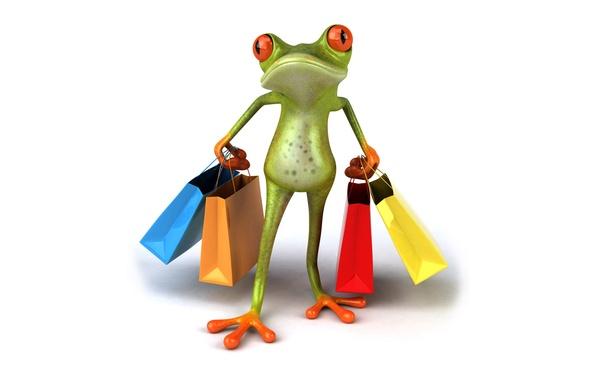 Картинка графика, лягушка, сумки, покупки, пакеты, Free frog 3d