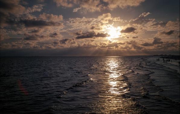 Картинка море, волны, пляж, солнце