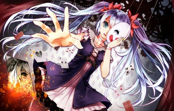 Картинка карты, девушка, аниме, маска, слезы, арт, vocaloid, hatsune miku, aaru