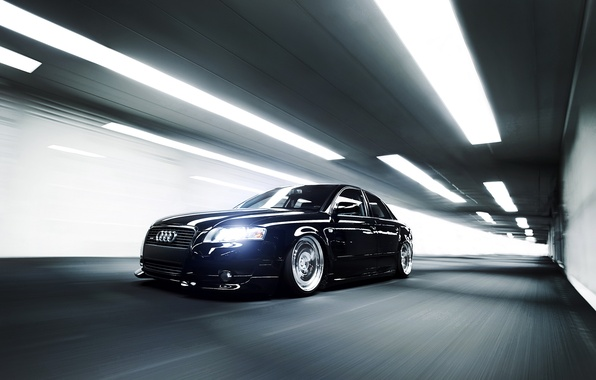 Картинка Audi, ауди, скорость, чёрная, тоннель, black, front