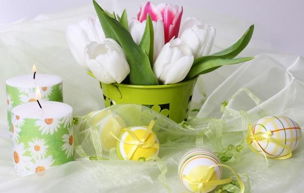 Картинка цветы, праздник, яйца, свечи, тюльпаны, пасхальный