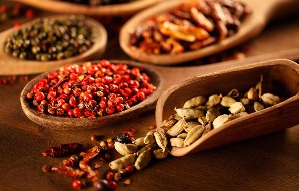 Картинка перец, специи, ложки, приправы, pepper, spices, seasoning, spoons