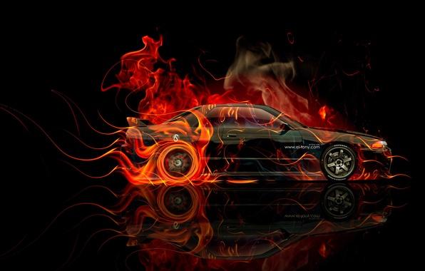 Картинка Черный, Машина, Ниссан, Обои, GTR, Фон, Orange, Nissan, Fire, Автомобиль, Арт, Art, Photoshop, Фотошоп, R32, …
