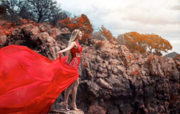 Картинка девушка, поза, ветер, платье, блондинка, стоит
