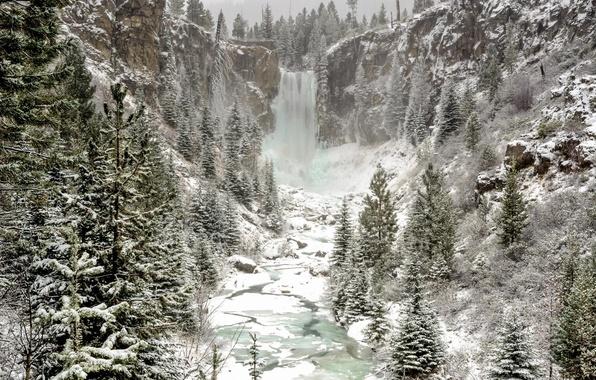 Картинка зима, лес, снег, природа, водопад