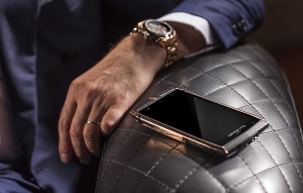 Картинка золото, часы, рука, техника, Lamborghini, телефон, золотой, gold, android, style, девайс, brown, hi-tech, смартфон, watch, ...