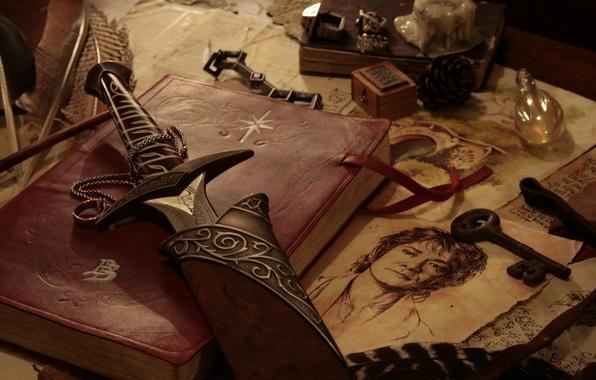 Картинка оружие, стол, рисунок, меч, ключ, книга, Хоббит