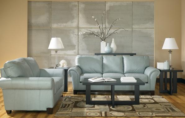 Картинка дизайн, лампы, комната, диван, ковер, мебель, растение, интерьер, кресло, голубые, столик, design, тона, вазы, журнальный, …