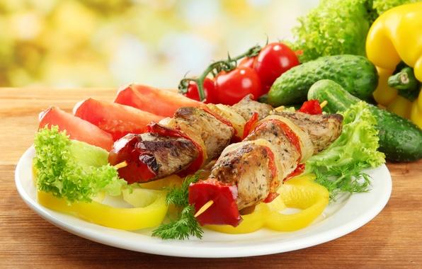 Картинка зелень, мясо, перец, овощи, помидоры, шашлык, meat, pepper, vegetables, tomato