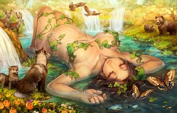 Картинка лес, вода, девушка, бабочки, улыбка, медведи, лежит, олени, art, dragon's crown