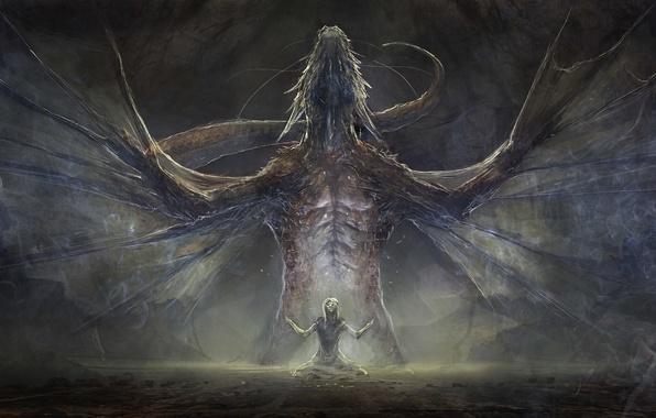 Картинка фантастика, дракон, человек, крылья, мощь, арт