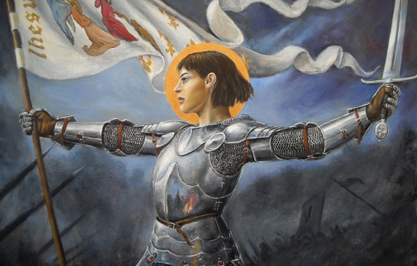 Картинка девушка, меч, доспехи, знамя, Жанна Д'арк
