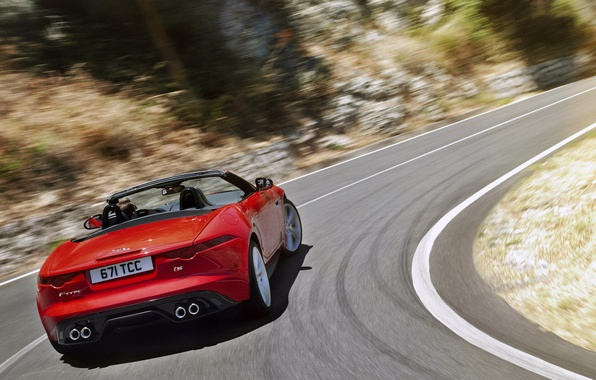 Картинка движение, ягуар, red, кабриолет, красная, вид сзади, jaguar, f-type