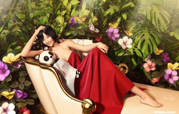 Картинка взгляд, девушка, цветы, поза, рендеринг, панда, азиатка, мягкая игрушка