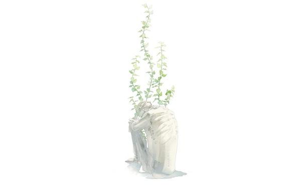 Картинка листья, скелет, сидит, art