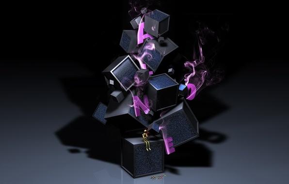 Картинка фон, фантазия, кубики, обоя