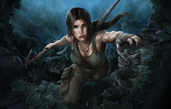 Картинка девушка, дождь, брюнетка, Tomb Raider, красотка, лара крофт