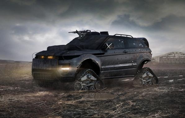 Картинка броня, Land Rover, Range Rover, постапокалипсис, гусеницы, пулемёт, повреждения, Evoque